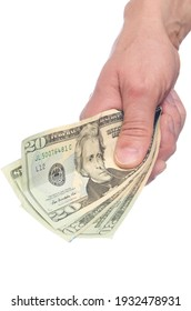 A male hand holding money with the concept of giving, white background.