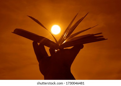 male Hand holding open book in front of sky. sunny blue and yellow sky, sun rays. holy Bibel.