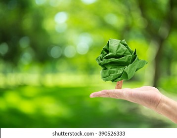 male hand holding paper shape tree on blurred green bokeh background of tree nature : world environment day
