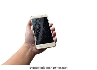 a male hand, holding a smartphone with cracked screen, isolated on white background.