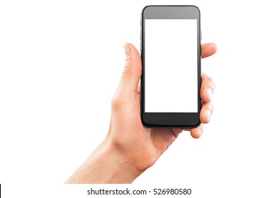 Male hand holding smartphone, isolated on white.