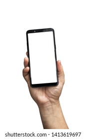 Male hand holding the smartphone with a white screen.