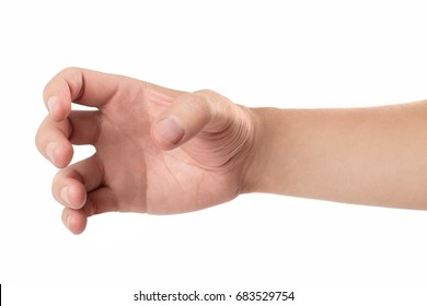 A male hand, holding something or catching or scratching or frightening or showing a zombie etc., isolated on white background