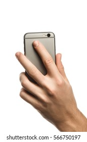 Male hand holding and touching on mobile smartphone show back side.