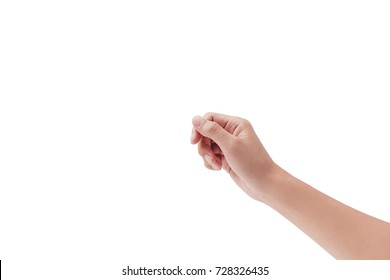 male hand holding a virtual business card, credit card or blank paper with your fingers on white backgrounds, isolated