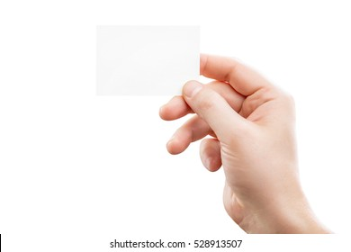 Male hand holding white business card at isolated background mockup.