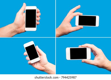 Male hand holding white mobile phone with black empty copy space screen isolated on blue screen. Collection of four photos.