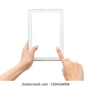 Male hand holding the white tablet pc computer and touching with blank screen isolated on white background with clipping path.