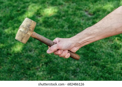 Male hand holding a wood hammer. Hammer in hand. Green background.