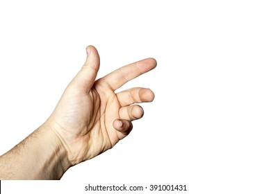 Male hand isolated on white background closeup