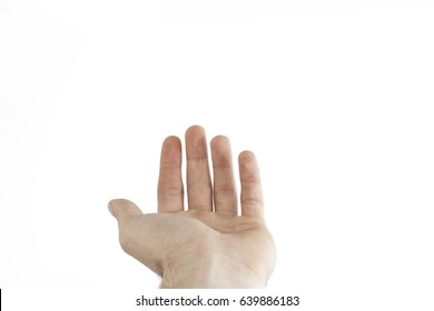 Male hand isolated on a white background. The gesture of outstretched hands