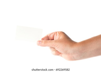 Male hand isolated on white background with business card