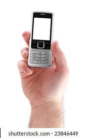 male hand with mobile phone