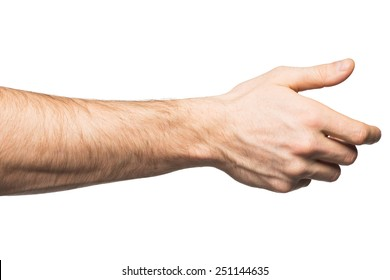 Male hand offering for handshake, over white background