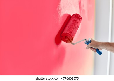 Male hand painting wall with paint roller. Painting apartment, renovating with pink color paint