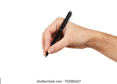 Male hand with pen on white background