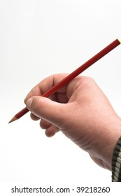 Male hand with pencil over white background
