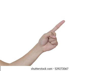 Male hand pointing isolate on white background.
