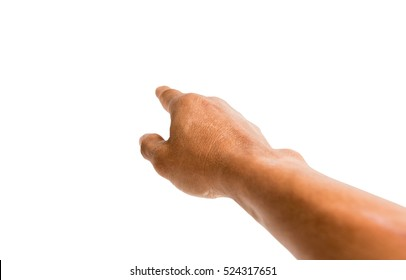 Male hand pointing something isolated on white...