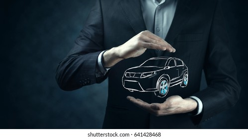 Male hand presenting car icon on virtual screen.