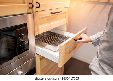 https www shutterstock com image photo male hand pulling opening wooden drawer 1850417035