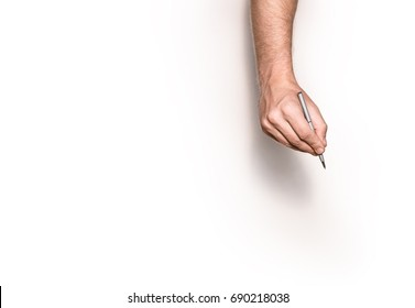 Male Hand Is Ready For Drawing With Pen, Top View Isolated.