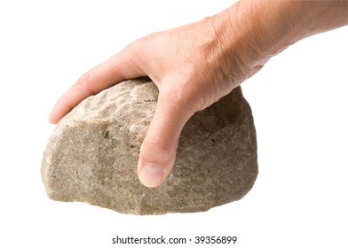 male hand with a rock isolated on a white background