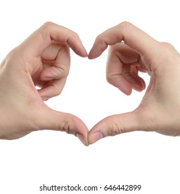 male hand show love sign, isolated with clipping path on white background