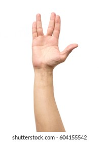 Male hand showing Vulcan Salute isolated on white background