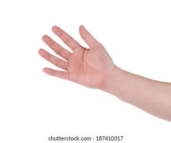 Male hand sign. Isolated on a white background.
