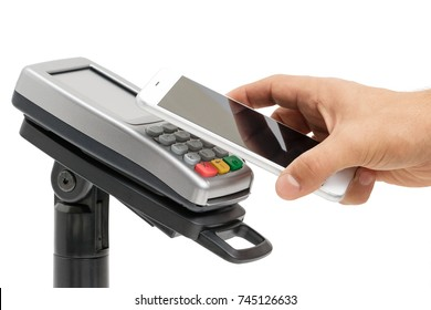 Male hand use smartphone for contactless payment with nfc techology. Side view isolated on white background