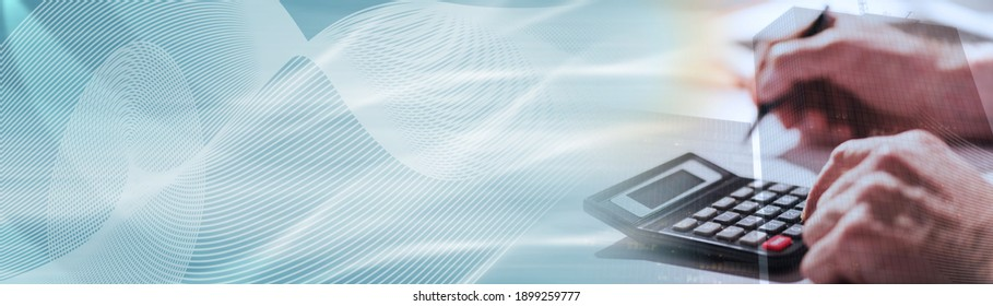 Male hand using calculator, accounting concept, light effect, double exposure; panoramic banner