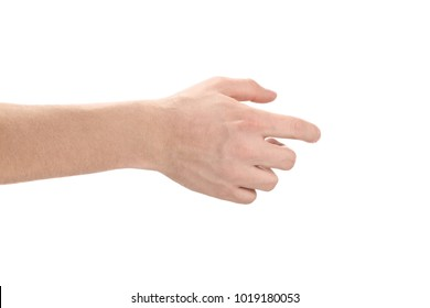 Male hand, welcoming somebody or touching something, isolated on white background