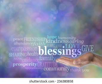 Male hand with the word 'blessings' floating above surrounded by words relevant to Count Your Blessings in a word cloud on a blue bokeh background