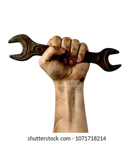 Male hand worker holding wrench, on a white background, isolate. With an inscription, happy labour day. International celebration.
