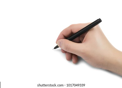 male hand writing with a black pen on white surface isolated whi