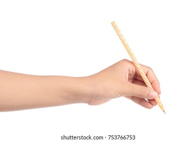 Male hand writing with pen isolated on white background
