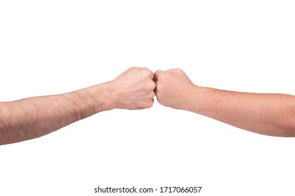 Male hands clenched into fists resting against each other on a white isolated background