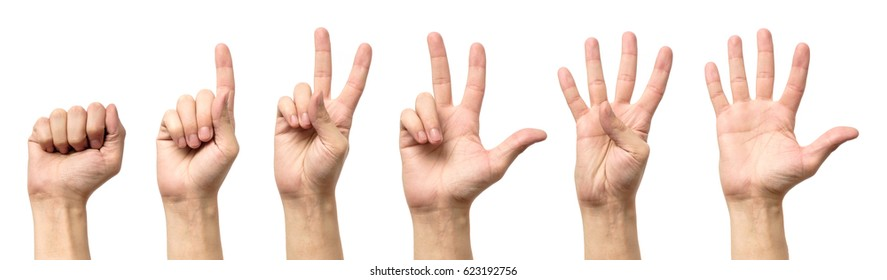 Male hands counting from zero to five isolated on white background