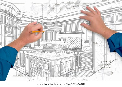 Male Hands Drawing Custom Kitchen Design Details.
