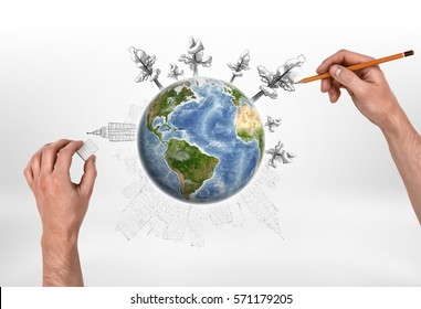 Male hands drawing trees with a pencil around the globe and erasing buildings with a rubber, on the white background. Ecology and Urbanization. Creativity and art. Environmental issues. Elements of