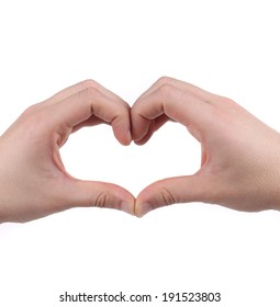Male hands in the form of heart. Isolated on a white background.