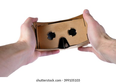 Male hands hold VR glasses isolated on white background