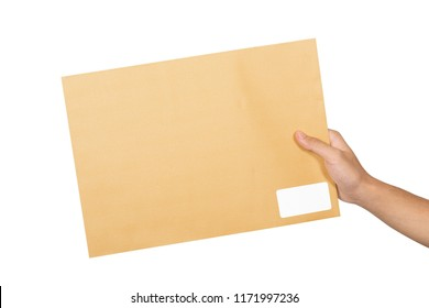 Male hands holding brown envelope isolated over white background