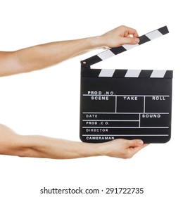 Male hands holding clapper board isolated on white background