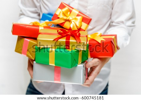 Male Hands Holding Gift Boxes Presents Stock Photo Edit Now