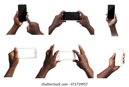 Male hands holding mobile smart phone and tablet with blank screen, isolated on white.