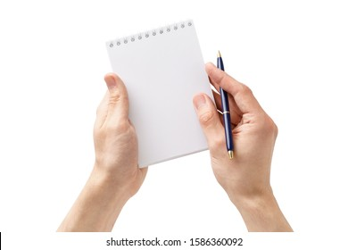 Male hands holding an open empty notebook and a pen. Man making notes or a to-do list. Isolated on white background.