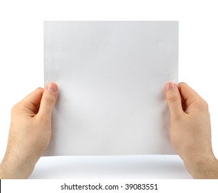 Male hands holding paper message reading looking at sheet page isolated with clipping path over white