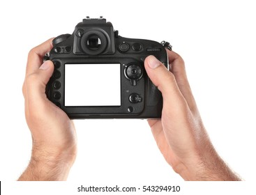Male hands holding photo camera, isolated on white